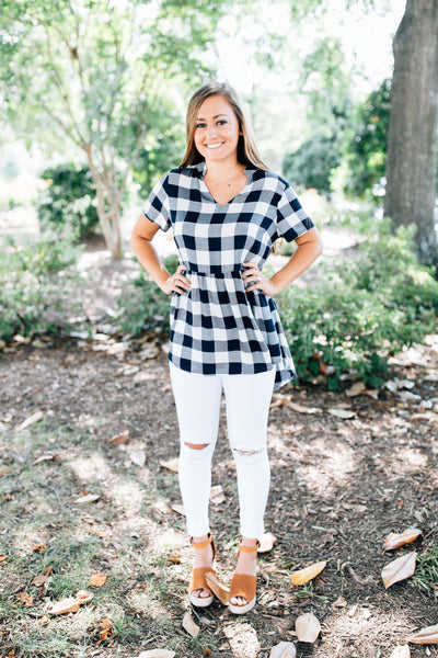 Gingham Baby Doll Top