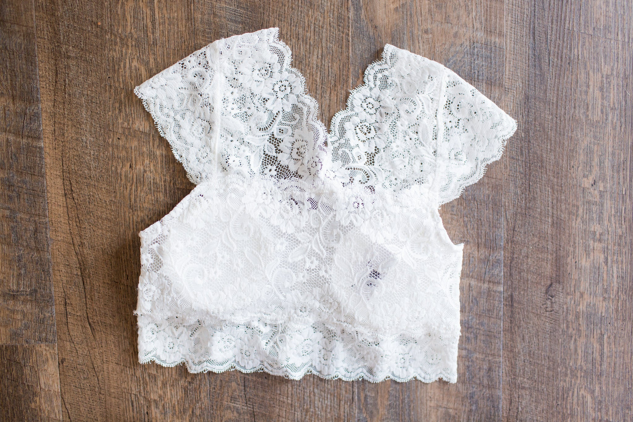 White Padded Lace Bra Top