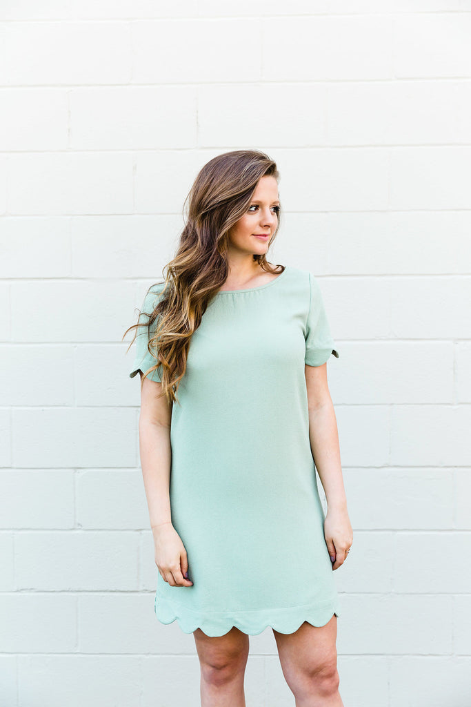 Sage Scalloped Dress