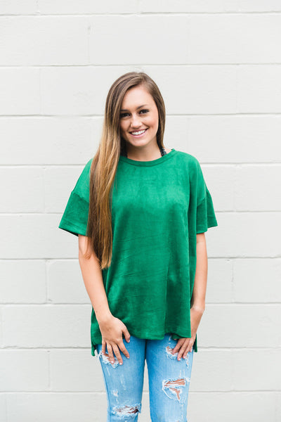 Kelly Green Suede Top