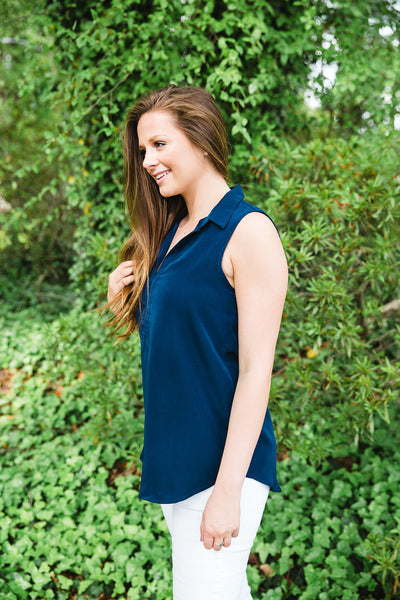 Navy Collared Sleeveless Top