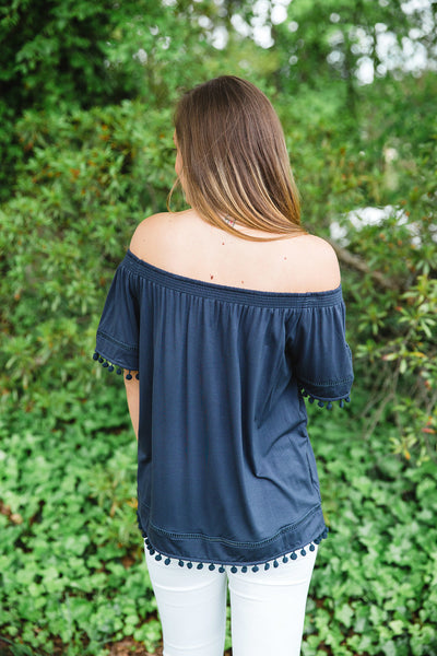 Charcoal Off the Shoulder Pom Pom Top