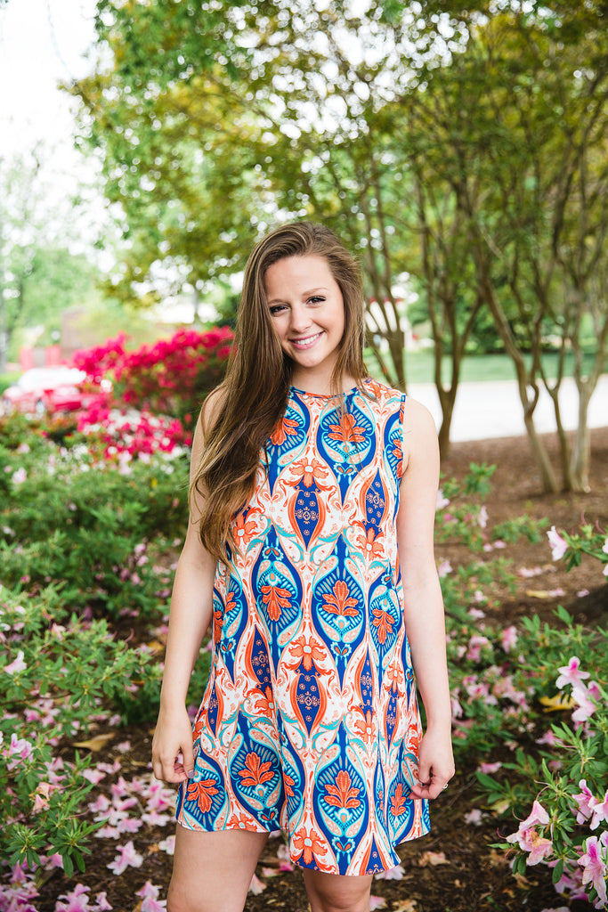 Blue & Orange Moroccan Print Dress
