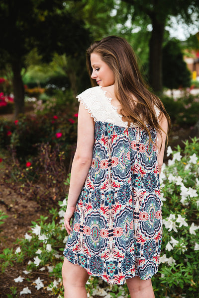 Printed Crochet Dress