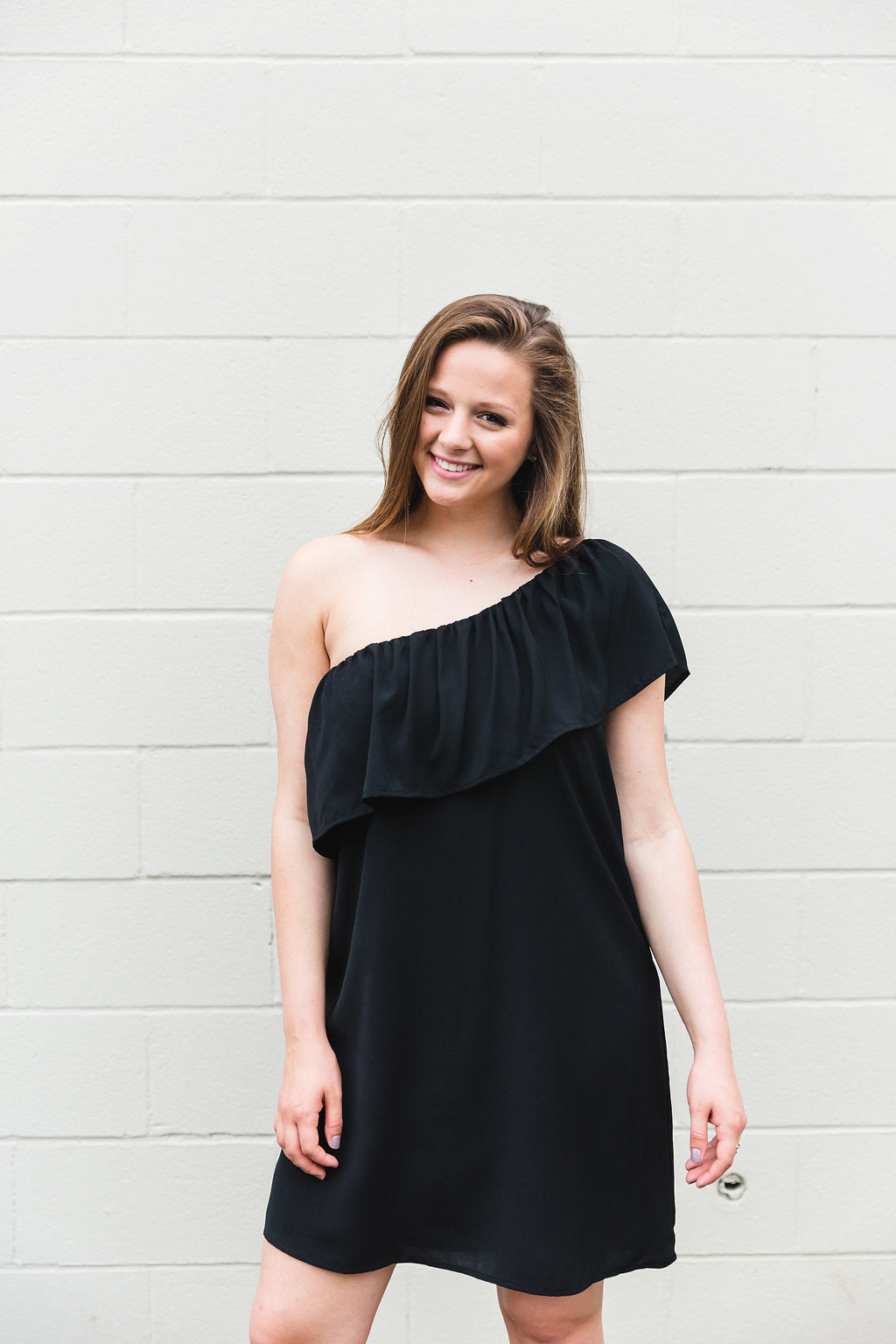 Black Ruffle Shoulder Dress