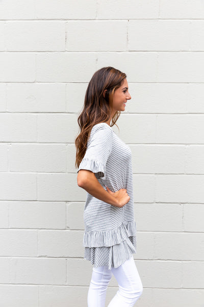 Grey & White Peplum Ruffle Top