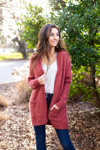 Rose Fuzzy Cardigan