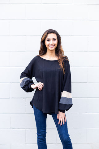 Black Color Block Balloon Sleeve Top