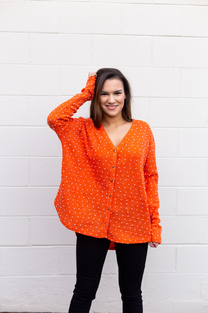 Orange Polka Dot Long Sleeve Top