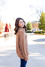 Camel Chenille Turtleneck Sweater