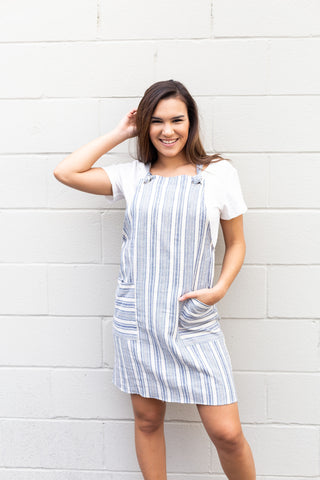 Chambray Striped Overall Dress