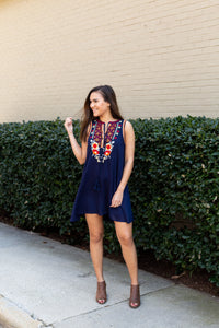 Navy Embroidered Swing Dress