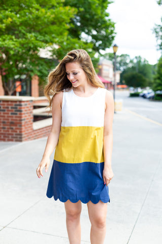 Color Block Scalloped Dress