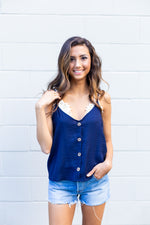Navy Button Tank