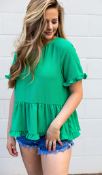Green Ruffle Peplum Top