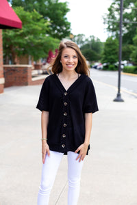Black Button Sweater Top