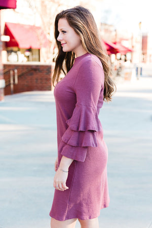 Dark Mauve Ruffled Bell Sleeve Dress