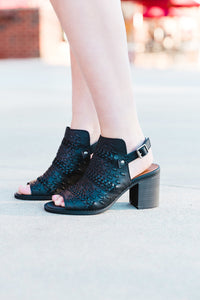 Black Braided Peep Toe Booties