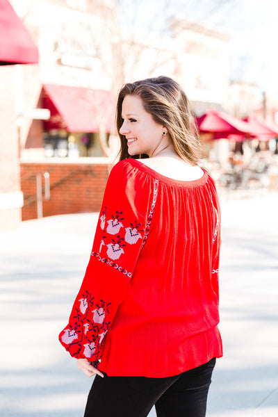 Red Embroidered Boho Top