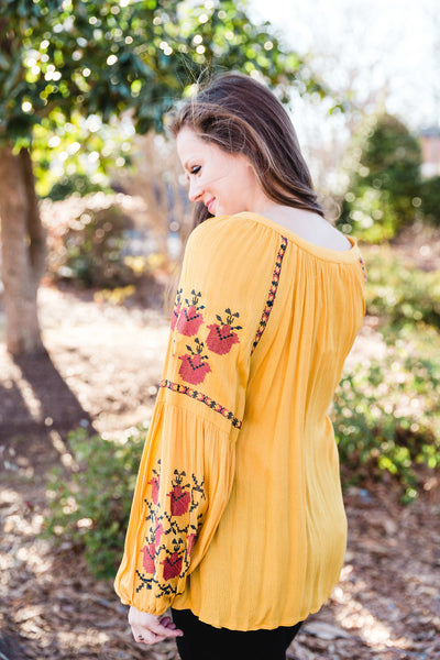 Mustard Embroidered Boho Top