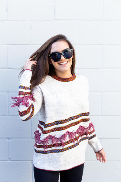 Striped Fringe Sweater