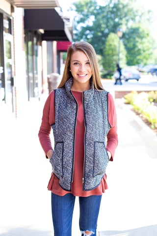 Black & White Herringbone Vest