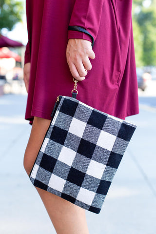 Large White & Black Buffalo Print Clutch