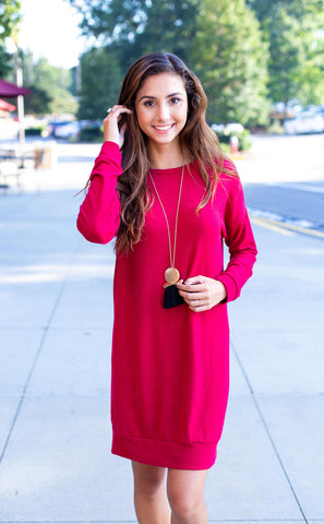 Berry Sweatshirt Dress