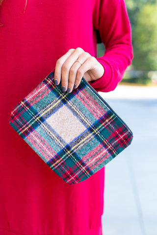 Small Plaid Print Clutch