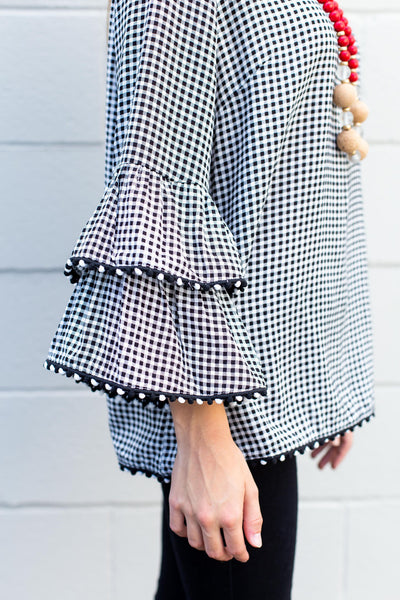 Black & White Gingham Ruffle Sleeve Top