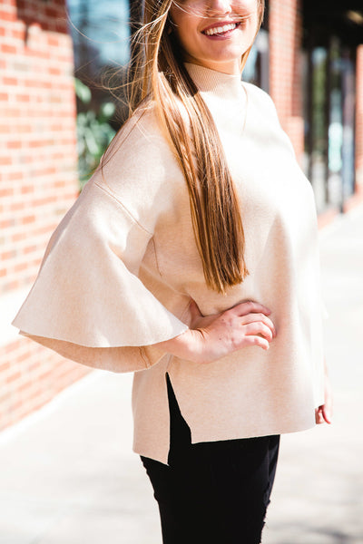 Sand Bell Sleeve Sweater
