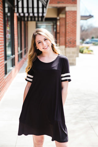 Black Varsity T-Shirt Dress