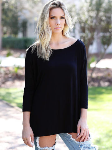 Black 3/4 Sleeve Piko