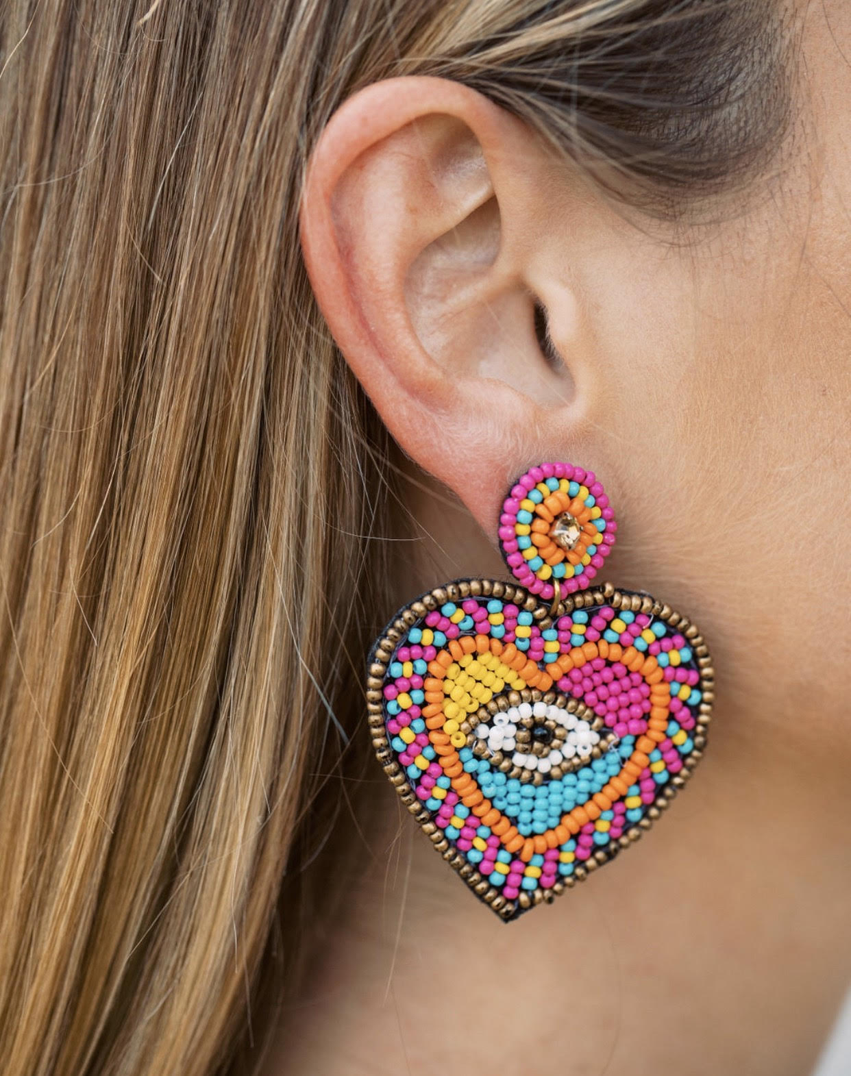Beaded Evil Eye Heart Earrings