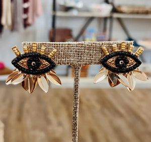 Beaded Evil Eye Stud Earrings