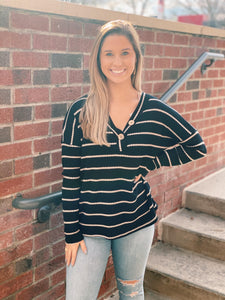 Black & Taupe Stripe Knit Top