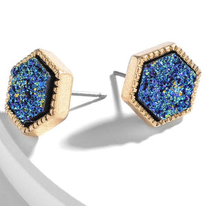 Druzy Hexagon Stud Earrings