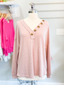 Blush Waffle Knit Button Detail Top