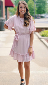 Blush Ruffle Tie Dress