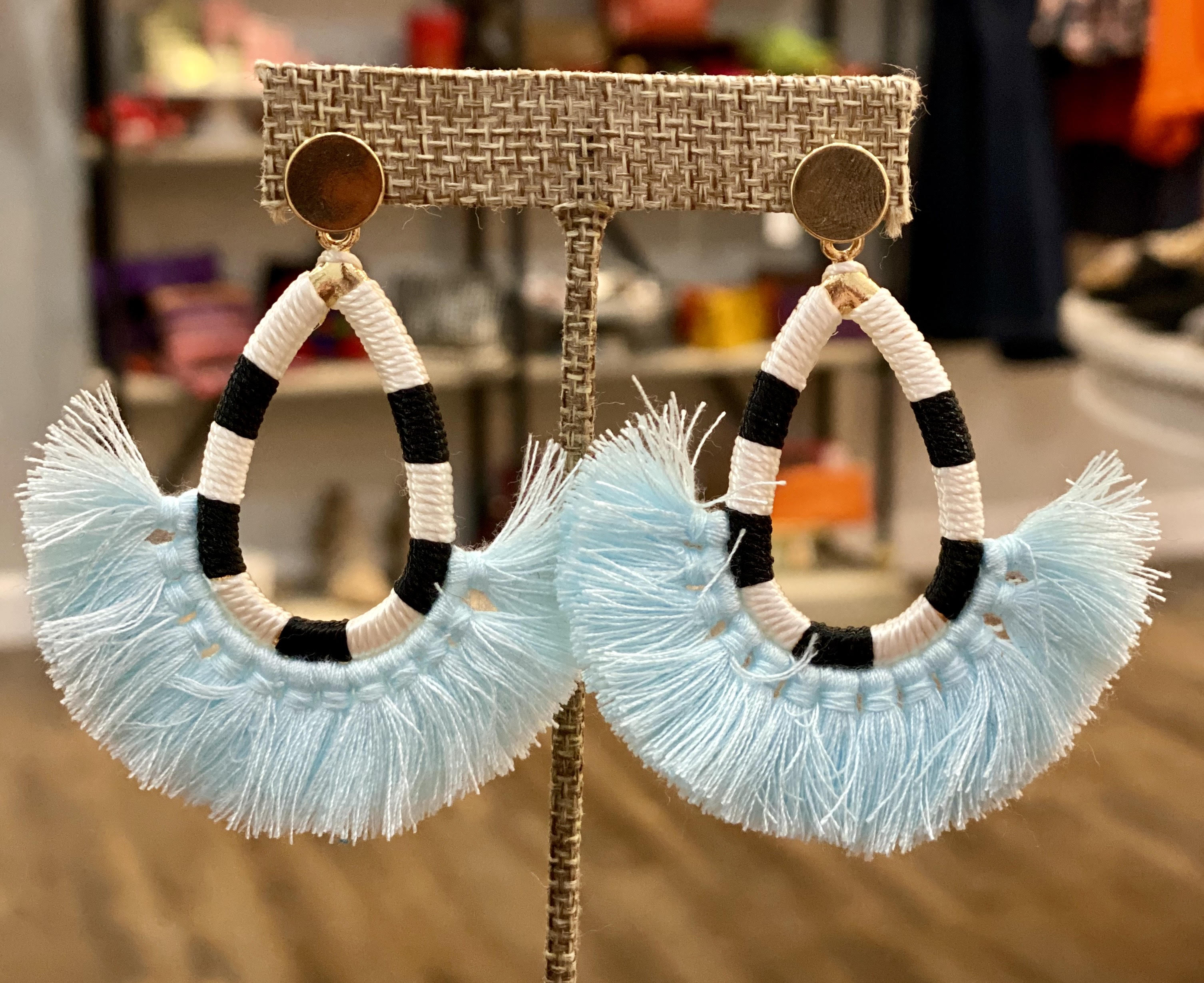 Black & White Stripe Tassel Earrings (Blue)