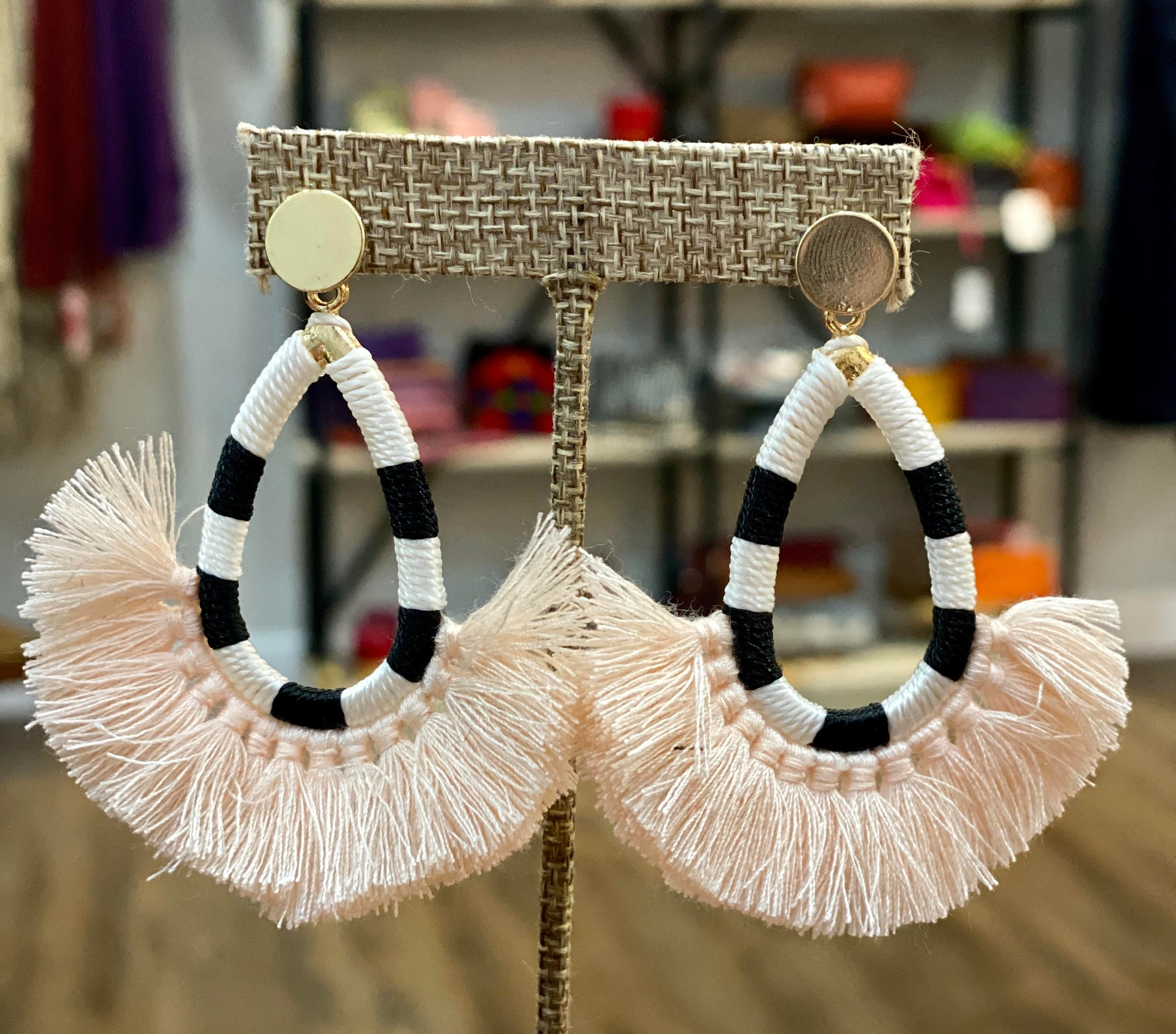 Black & White Stripe Tassel Earrings (Blush)