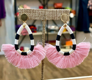 Black & White Stripe Tassel Earrings (Pink)