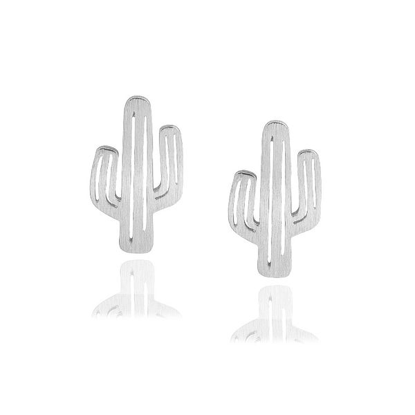 Silver Cactus Stud Earrings
