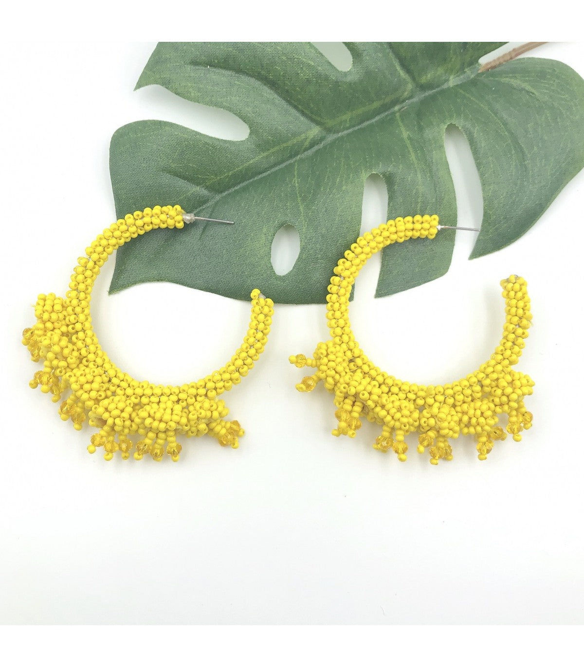 Yellow Beaded Tassel Hoops