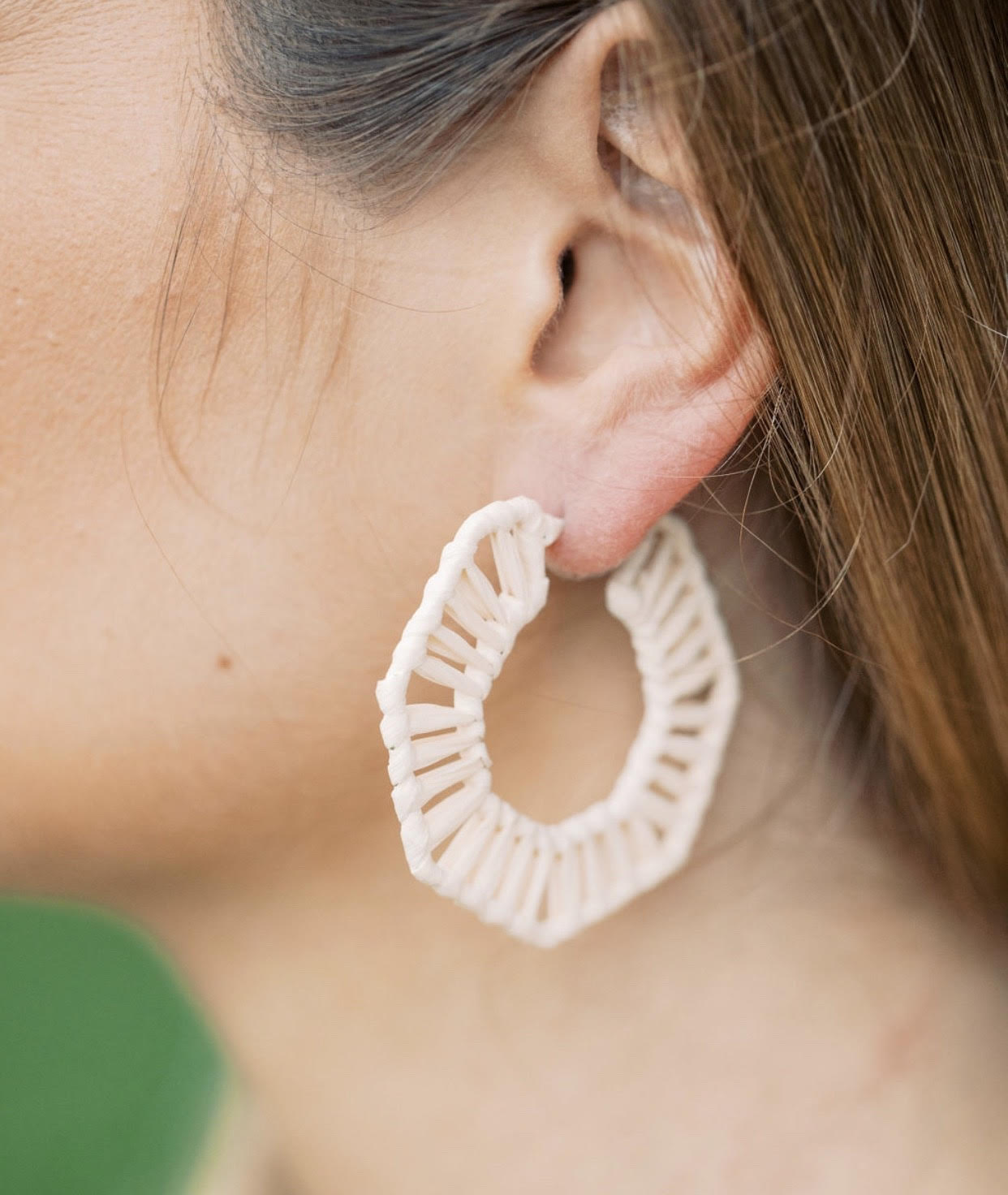 Cream Straw Hexagon Hoops