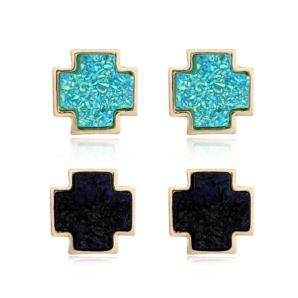 Druzy Cross Stud Earrings