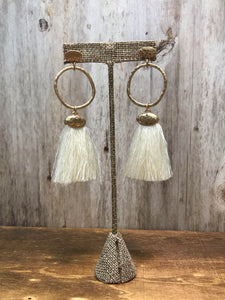 Cream Hoop Tassel Earring
