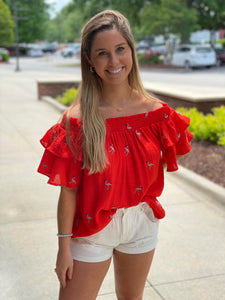 Red Flamingo Off the Shoulder Top