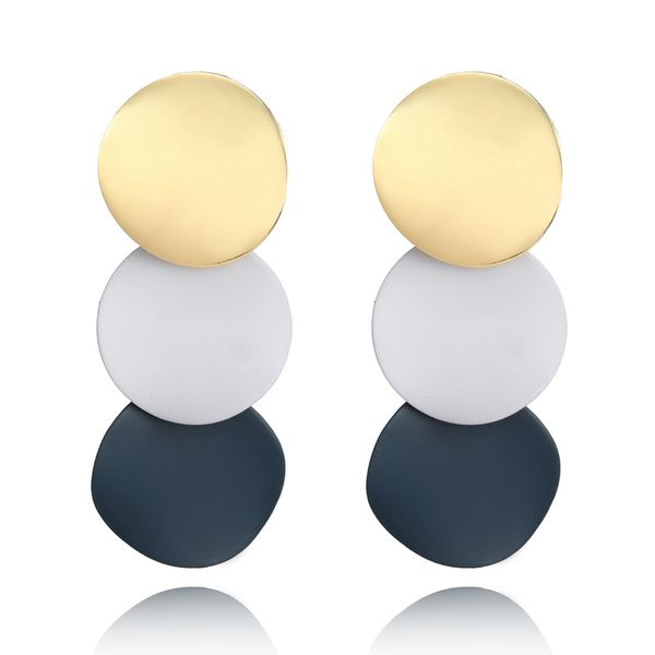 Gold & Navy Circle Drop Earrings