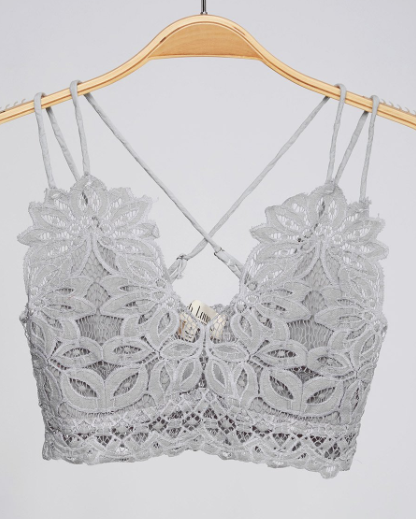 Grey Lace Criss Cross Bralette